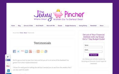 Screenshot of Testimonials Page thejennypincher.com - Testimonials | thejennypincher.com - captured Jan. 11, 2016