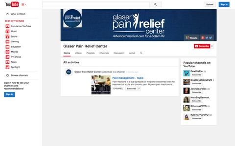 Screenshot of YouTube Page youtube.com - Glaser Pain Relief Center  - YouTube - captured Nov. 2, 2014