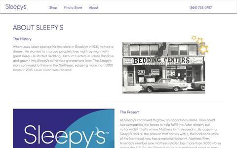 Screenshot of About Page sleepys.com - About - Sleepys - captured Jan. 8, 2020