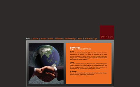 Screenshot of Home Page pyprus.com - Singapore Intellectual Property (IP) Firm - captured Sept. 30, 2014