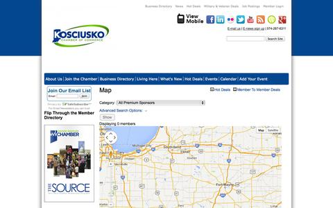 Screenshot of Maps & Directions Page kchamber.com - Map - Map - Warsaw Kosciusko Chamber of Commerce - captured Nov. 4, 2014