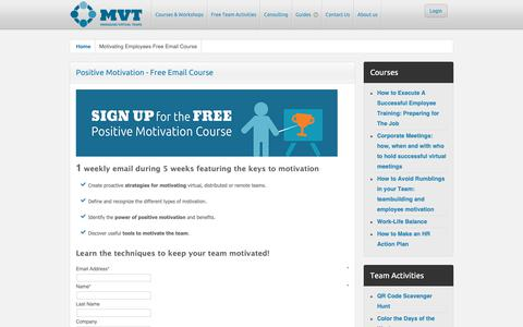 Screenshot of Signup Page managing-virtual-teams.com - Motivating Employees Free Email Course - captured Oct. 2, 2018