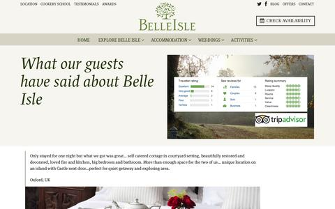 Screenshot of Testimonials Page belle-isle.com - Testimonials - Guest comments for Belle Isle Cottages and Castle rooms — Belle Isle Estate - captured Oct. 5, 2014