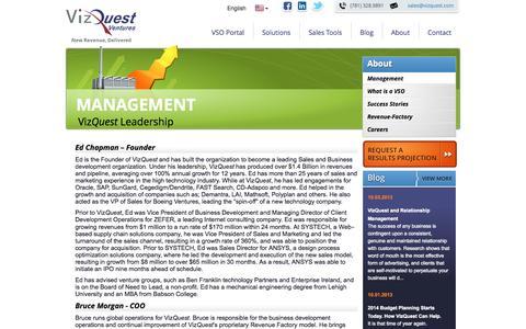 Screenshot of Team Page vizquest.com - Management - VizQuest Ventures - captured Oct. 26, 2014