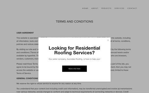 Screenshot of Terms Page oharasson.com - Terms of Service — O'Hara's Son Roofing - captured Oct. 20, 2018