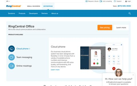 Screenshot of Products Page ringcentral.com - Cloud Communications - Business Communication Solutions for Enterprises | RingCentral - captured May 7, 2019