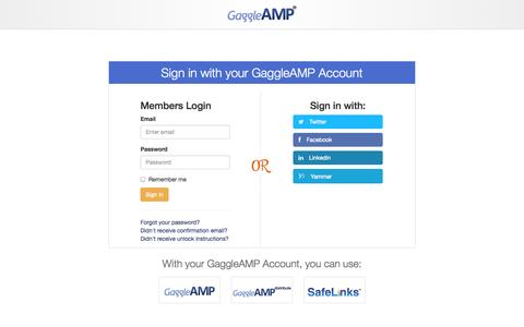 Screenshot of Login Page gaggleamp.com - GaggleAMP - captured Sept. 18, 2014