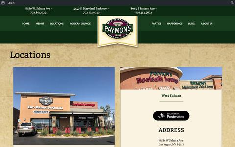 Screenshot of Locations Page paymons.com - Locations · Paymon's Mediterranean Cafe & Lounge - captured Sept. 27, 2018
