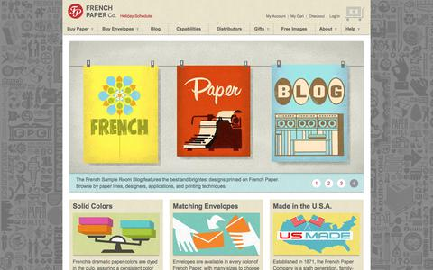 Screenshot of Home Page frenchpaper.com - Colored Paper, Colored Envelopes, Custom Paper | French Paper Co. - captured Oct. 14, 2017