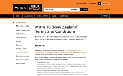Screenshot of Terms Page mitre10.co.nz - Terms & conditions | Mitre 10™ - captured Aug. 28, 2016