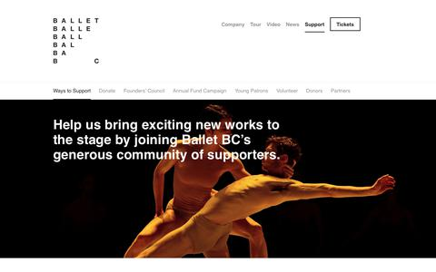 Screenshot of Support Page balletbc.com - Ways to Support - Ballet BC - captured Aug. 1, 2018