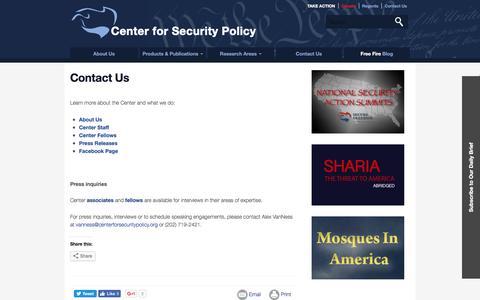 Screenshot of Contact Page centerforsecuritypolicy.org - Center for Security Policy   Contact Us - captured May 15, 2017