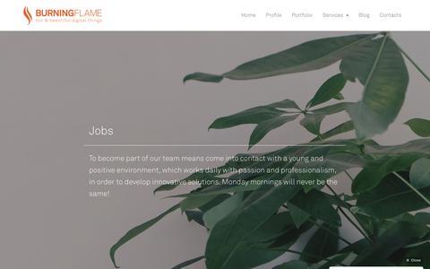 Screenshot of Jobs Page burningflame.it - Jobs · Burning Flame - captured Oct. 7, 2018