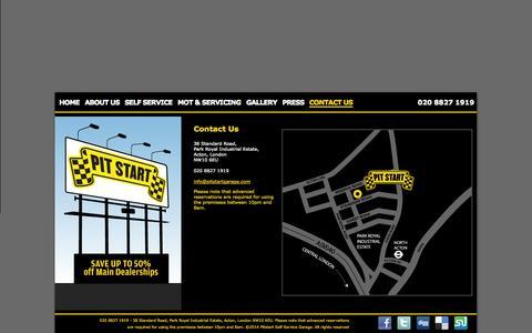 Screenshot of Contact Page pitstartgarage.com - Pit Start - Contact Us - captured Oct. 2, 2014