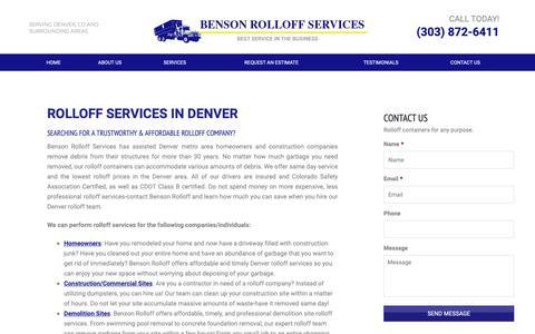 Screenshot of Services Page bensonrolloff.com - Benson Rolloff Services | Rolloff Services in Denver - captured Oct. 5, 2018