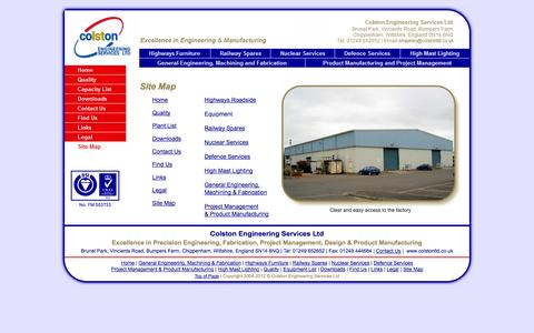 Screenshot of Site Map Page colstonltd.co.uk captured Oct. 8, 2014