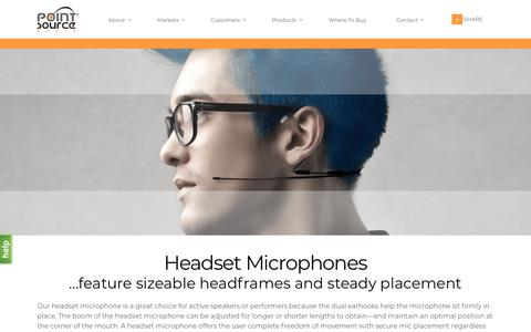 Screenshot of Products Page point-sourceaudio.com - Performance Headset Microphones | Point Source Audio - captured July 19, 2018
