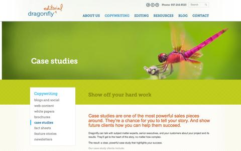 Screenshot of Case Studies Page dragonflyeditorial.com - Case Study Copywriting – Improve your sales - captured Oct. 27, 2014