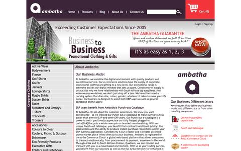 Screenshot of About Page ambatha.co.za - Ambatha Online procurement solution supplier of promotional corporate clothing and gifts - captured Oct. 4, 2014