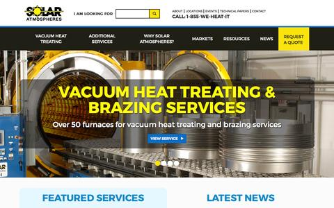 Screenshot of Home Page solaratm.com - Solar Atmospheres - Quality Vacuum Heat Treating, Brazing, Carburizing, and Nitriding - captured Sept. 11, 2015