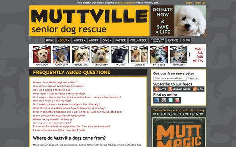 Screenshot of FAQ Page muttville.org - Muttville: Frequently asked questions - captured Sept. 19, 2014