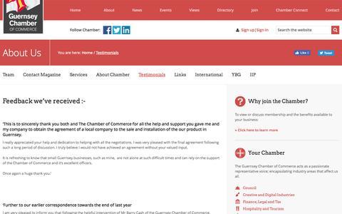 Screenshot of Testimonials Page guernseychamber.com - Testimonials | Guernsey Chamber of Commerce - captured Nov. 16, 2016