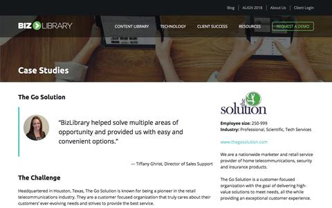 Screenshot of Case Studies Page bizlibrary.com - The Go Solution Uses BizLibrary - captured June 6, 2018