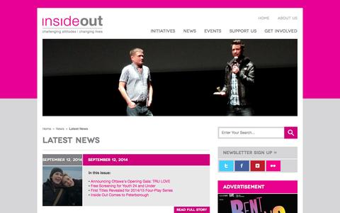Screenshot of Press Page insideout.ca - Inside Out | LGBT Film Festival - captured Sept. 30, 2014
