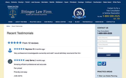 Screenshot of Testimonials Page trustlaw.com - Testimonials :: New York Elder Law Attorney Ettinger Law Firm - captured Aug. 29, 2017