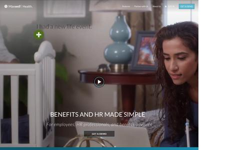 Screenshot of Home Page maxwellhealth.com - Maxwell Health – Benefits and HR Made Simple - captured April 18, 2017