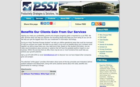 Screenshot of Services Page pssiusa.com - Services     PSSIUSA - captured Oct. 3, 2014