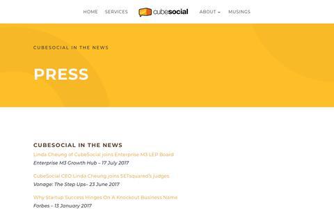 Screenshot of Press Page cubesocial.com - Press - CubeSocial - captured July 23, 2018