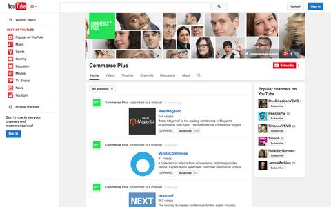 Screenshot of YouTube Page youtube.com - Commerce Plus  - YouTube - captured Oct. 23, 2014