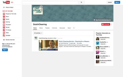 Screenshot of YouTube Page youtube.com - DutchCleaning  - YouTube - captured Oct. 23, 2014