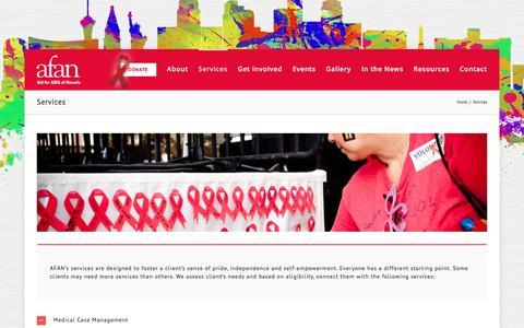 Screenshot of Services Page afanlv.org - Services – Afan - captured Nov. 20, 2016