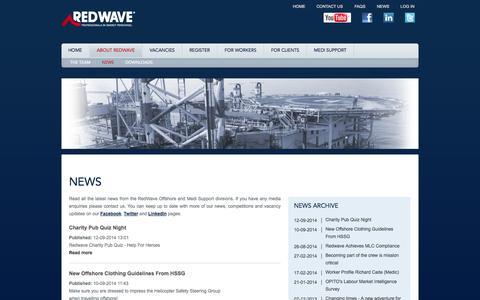 Screenshot of Press Page redwave.co.uk - News - RedWave (Aberdeen) Ltd - captured Oct. 7, 2014