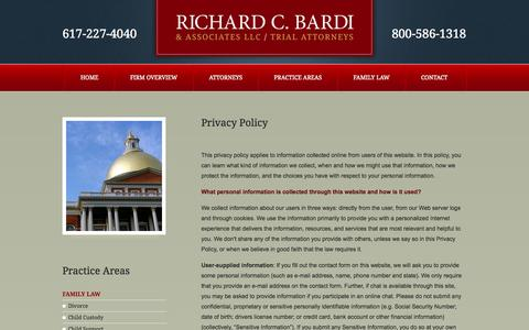 Screenshot of Privacy Page richardbardi.com - Privacy Policy | Richard C. Bardi & Associates LLC | Boston, Massachusetts - captured Oct. 7, 2014