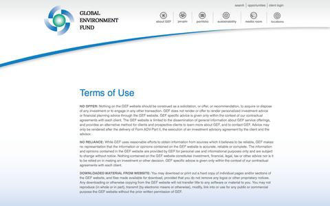 Screenshot of Terms Page globalenvironmentfund.com - Terms of Use | Global Environment Fund - captured Sept. 30, 2014