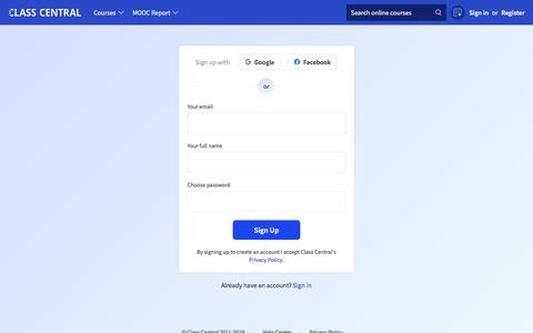 Screenshot of Signup Page classcentral.com - Class Central Sign Up - captured Oct. 30, 2019