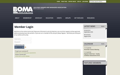 Screenshot of Login Page bomaseattle.org captured Nov. 13, 2018