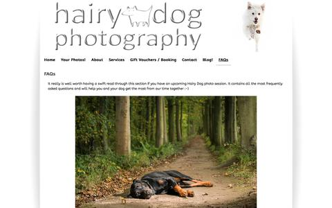 Screenshot of FAQ Page hairydogphotography.co.uk - Hairy Dog Photography faqs - captured July 15, 2018