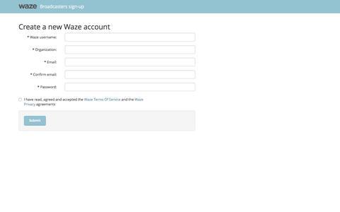 Screenshot of Landing Page waze.com - Waze Advertisers Dashboard - Create a new Waze account - captured Feb. 10, 2016