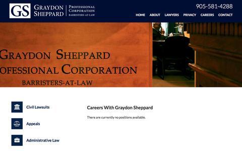 Screenshot of Jobs Page sheppardlaw.ca - Careers   Graydon Sheppard   Hamilton - captured Feb. 1, 2016
