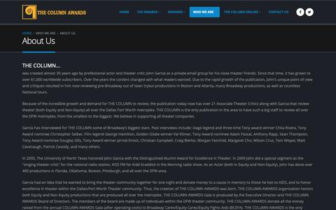Screenshot of About Page thecolumnawards.org - The Column Awards | About Us - captured Dec. 21, 2018