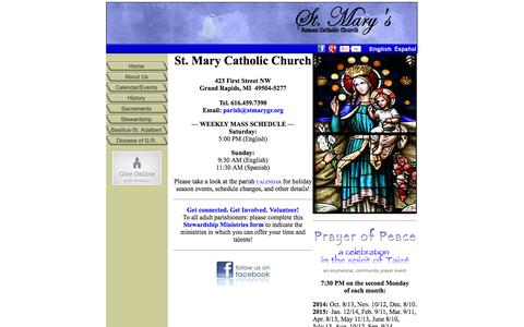 Screenshot of Home Page stmarygr.org - St. Mary's Catholic Church - captured Oct. 7, 2014