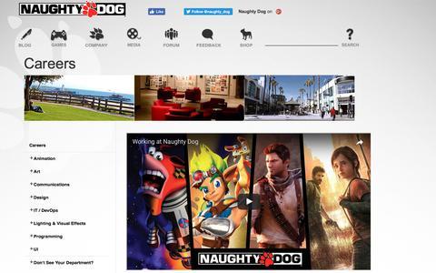 Screenshot of Jobs Page naughtydog.com - Naughty Dog   Naughty Dog - captured June 6, 2017