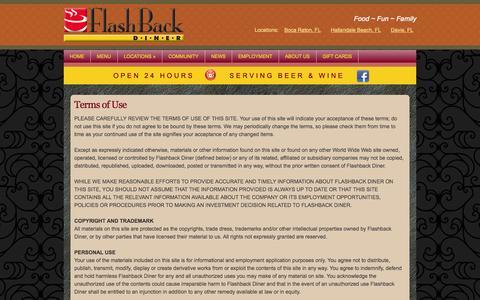 Screenshot of Terms Page flashbackdiner.com - Terms of Use | Flashback Diner - captured Sept. 30, 2014