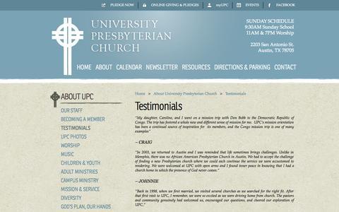 Screenshot of Testimonials Page upcaustin.org - Testimonials | University Presbyterian Church - captured Oct. 26, 2014