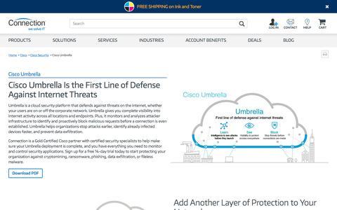 Screenshot of Signup Page connection.com - Cisco Showcase: Cisco Umbrella - captured Aug. 7, 2019