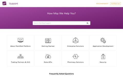 Screenshot of Support Page pokitdok.com - Knowledge  | PokitDok Support - captured Feb. 10, 2017